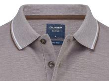 Polo koszulka Olymp z kołnierzykiem - brązowo-szara z białą siateczką