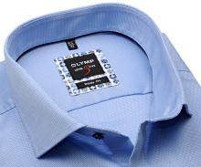Koszula Olymp Level Five – jasnoniebieska o delikatnej strukturze z niebiesko-beżową stójką - extra długi rękaw