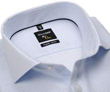 Koszula Olymp Super Slim – biała z delikatną strukturą w jasnoniebieską kratkę - extra długi rękaw