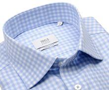 Koszula Eterna 1863 Comfort Fit Two Ply NEVER IRON - luksusowa w jasnoniebieską kratę