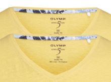 Żółty lniany t-shirt Olymp Level Five z krótkim rękawem - dekolt V - korzystny zestaw 2 szt