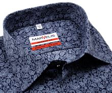 Koszula Marvelis Modern Fit - ciemnoniebieska z jasnoniebieskim wzorem paisley