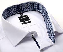 Koszula Olymp Modern Fit Twill – biała z diagonalną strukturą i wewnętrzną stójką - extra długi rękaw
