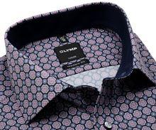 Koszula Olymp Modern Fit – z różowo-niebieskim wzorem i wewnętrzną stójką - krótki rękaw