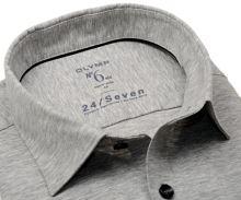 Koszula Olymp Super Slim 24/Seven – szara elastyczna w jaśniejszą siateczkę