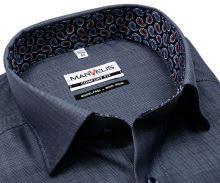 Koszula Marvelis Comfort Fit – stalowo niebieska w jodełkę z wewnętrzną stójką i mankietem