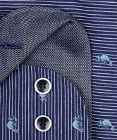 Koszula Olymp Level Five – ciemnoniebieska w białe paski z zwierzęcym potwórem