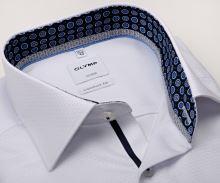 Koszula Olymp Comfort Fit – luksusowa biała z wzorem i wewnętrzną stójką - extra długi rękaw