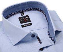 Koszula Olymp Level Five – jasnoniebieska z wyszytym wzorem i stójka wewnętrzna - extra długi rękaw