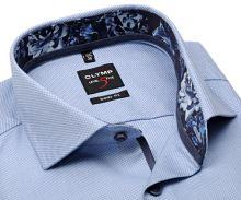 Koszula Olymp Level Five – jasnoniebieska koszula z wyszytym wzorem i wewnętrzną stójką - extra długi rękaw