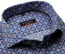 Koszula Eterna Modern Fit Twill - ciemnoniebieska designerska z biało-niebiesko-brązowymi ornamentami