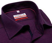 Koszula Marvelis Modern Fit - fioletowa z delikatną strukturą - krótki rękaw