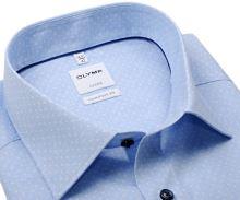 Koszula Olymp Comfort Fit – jasnoniebieska w białe kropki i delikatną siateczkę