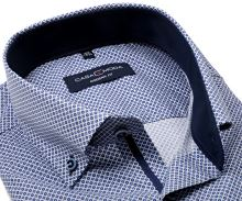 Koszula Casa Moda Modern Fit – niebiesko-biała z pierścieniami, wewnętrzną stójką i mankietem