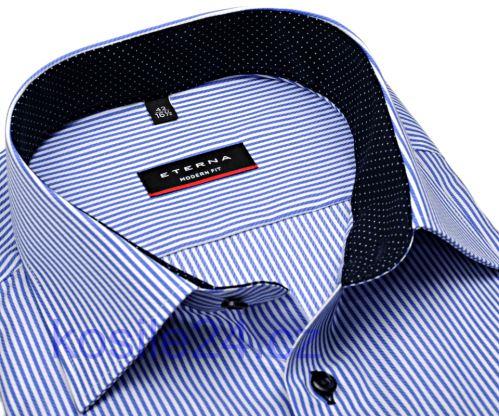 Koszula Eterna Modern Fit Twill – biała w niebieskie prążki z kołnierzykiem wewnętrznym i mankietami
