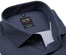 Koszula Olymp Level Five – ciemnoniebieska w drobny niebiesko-biały wzór - krótki rękaw