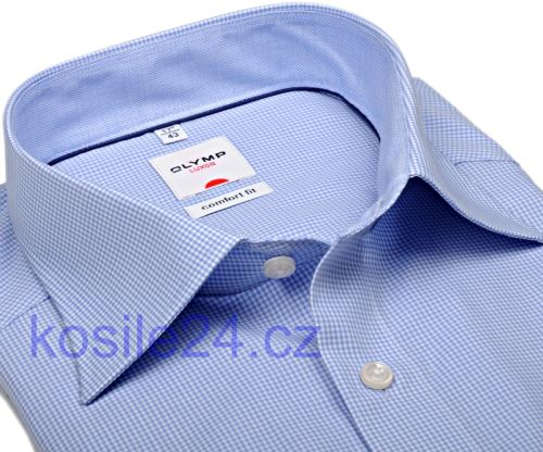 Koszula Olymp Luxor Comfort Fit – w jasnoniebieską krateczkę z kołnierzykiem i mankietami