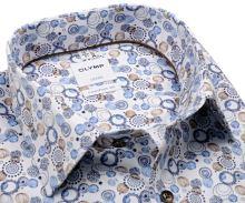 Koszula Olymp Luxor Comfort Fit – designerska z niebiesko-beżowym wzorem