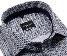 Koszula Venti Modern Fit – w beżowo-niebieski wzór z ciemnoniebieską wewnętrzną stójką i mankietem
