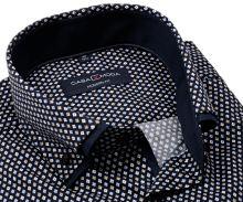 Koszula Casa Moda Modern Fit Premium – ciemnoniebieska w ornamenty z podwójnym kołnierzem