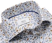 Koszula Eterna 1863 Slim Fit Two Ply - luksusowa designerska z beżowo-niebieskim wzorem