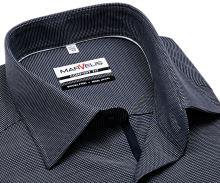 Koszula Marvelis Comfort Fit - ciemnoniebieska z bialym wyszytym wzorem - krótki rękaw