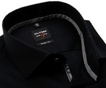 Koszula Olymp Level Five – czarna z wewnętrzną stójką i plisą