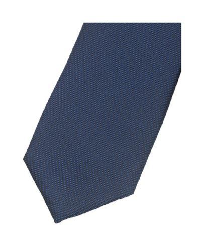 Krawat super slim Olymp – ciemnoniebieski z tkanym wzorem