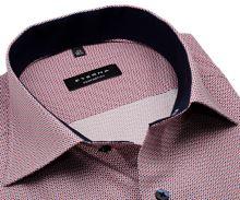 Koszula Eterna Comfort Fit - z czerwono-niebieskim wzorem i wewnętrzną stójką - krótki rękaw