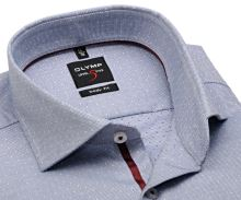 Koszula Olymp Level Five - niebiesko-biała z delikatną struktura i wewnętrzną plisą - extra długi rękaw