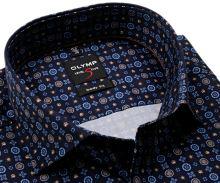 Koszula Olymp Level Five – designerska ciemnoniebieska z niebiesko-brązowym wzorem - extra długi rękaw