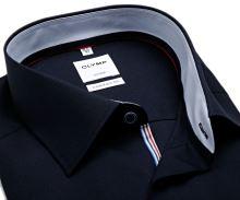 Koszula Olymp Luxor Comfort Fit – ciemnoniebieska z jasnoniebieską wewnętrzną stójką - krótki rękaw