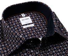 Koszula Olymp Comfort Fit – ciemnoniebieska z brązowo-białymi kołami