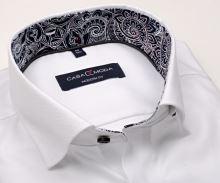 Luksusowa koszula Casa Moda Modern Fit Premium – biała z delikatną strukturą i stójką wewnętrzną