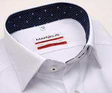 Koszula Marvelis Modern Fit – biała z wyszytym wzorem i ciemnoniebieską wewnętrzną stójką - krótki rękaw