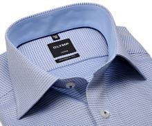 Koszula Olymp Modern Fit – niebieska z wplecionym wzorem i wewnętrzną stójką - extra długi rękaw