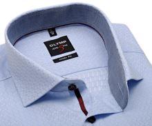 Koszula Olymp Level Five - luksusowa jasnoniebieską w unikatowy wyszyty wzor, wewnętrzną stójką i mankietem