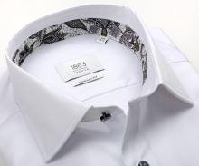 Koszula Eterna 1863 Comfort Fit Two Ply - luksusowa biała z czarno-białą stójką wewnętrzną i mankietem