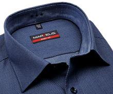 Koszula Marvelis Body Fit – niebieska z wyszytym wzorem i wewnętrzną stójką - extra długi rękaw