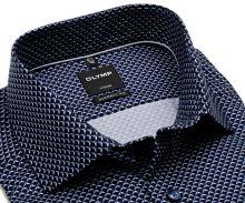 Koszula Olymp Modern Fit – ciemnoniebieska z jasnoniebiesko-białym wzorem