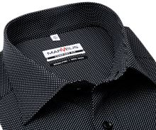 Koszula Marvelis Comfort Fit – czarna w białe kropki - krótki rękaw