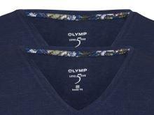 Granatowy lniany t-shirt Olymp Level Five z krótkim rękawem - dekolt V - korzystny zestaw 2 szt