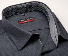 Koszula Marvelis Body Fit – czarno-szara z wyszytym wzorem i wewnętrzną stójką