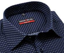 Koszula Marvelis Body Fit – ciemnoniebieska z zielono-białym wzorem