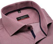 Koszula Eterna Modern Fit – z czerwono-niebiesko-białym wplecionym wzorem - krótki rękaw