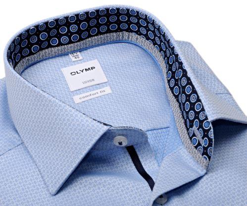 Koszula Olymp Comfort Fit – luksusowa jasnoniebieska z wyszytym wzorem z wewnętrzną stójką
