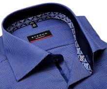 Koszula Eterna Modern Fit – niebieska o delikatnej strukturze z niebiesko-brązową wewnętrzną stójką