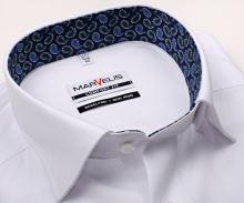 Marvelis Comfort Fit – biała koszula w jodełkę z wyszytym wzorem, wewnętrzną stójką i mankietem