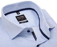 Koszula Olymp Level Five – w jasnoniebieskie paski z wewnętrzną plisą i mankietem - extra długi rękaw