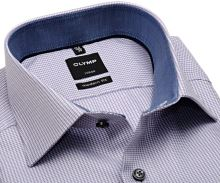 Koszula Olymp Luxor Modern Fit – z fioletowym wzorem, wewnętrzną stójką i mankietem - extra długi rękaw